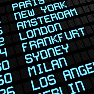Departures board at airport terminal showing international destinations flights to some of the world's most popular cities. Business or leisure travel concept, 3d rendering.