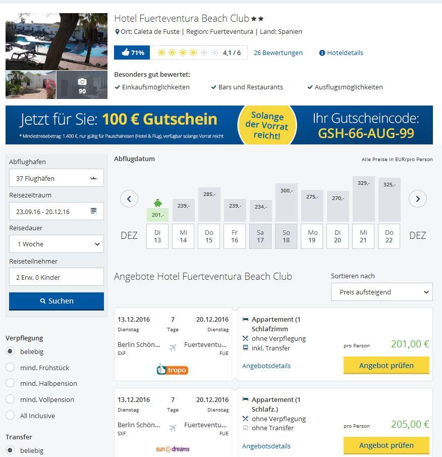 Fuerteventura Beach Club Angebot