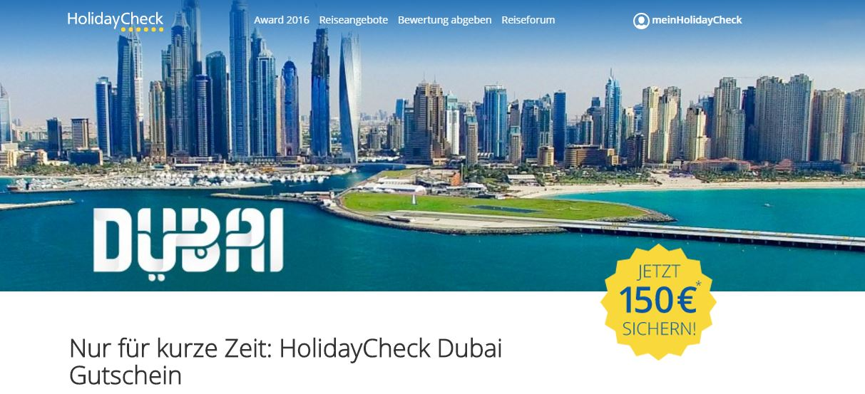 Holidaycheck 150€ Dubai Aktion