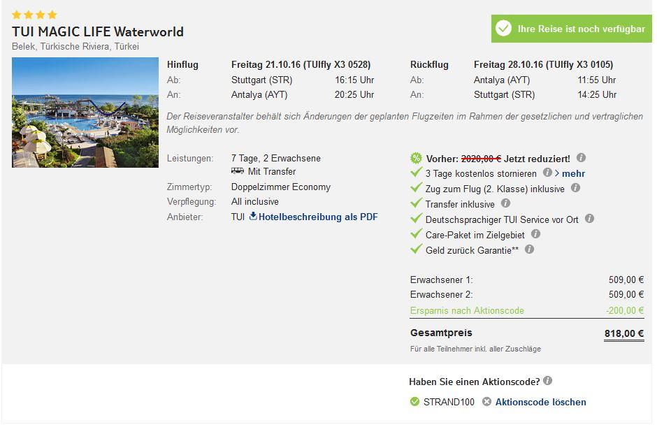 MAGIC LIFE Waterworld Türkei Belek Schnäppchen